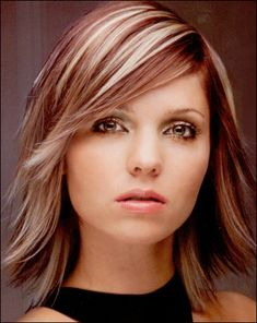 Side Bangs On Long Layered Hair- Haircut....Red Brown base w/ VERY COOL Highlights- Hair Color....Fine to Medium Hair w/ wave