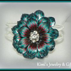 Bracelet - Dark Teal & Burgundy Flower with Crystal Rivoli