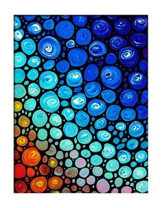 Colorful Abstract Rainbow Mosaic Art Blue Aqua by terracegallery, $49.99