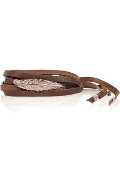 Chan Luu  Rose gold-plated and leather wrap bracelet $130