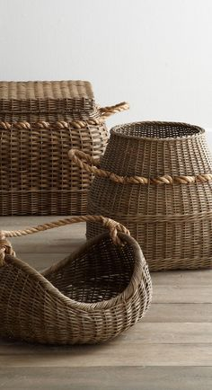 Rattan Baskets with rope handles