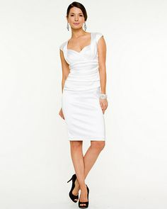 Stretch Satin Fitted Cocktail Dress - Le Chateau
