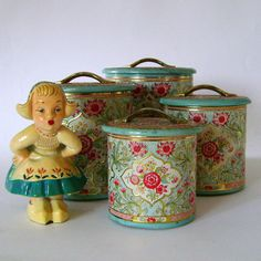 Set of Four Vintage Tin Containers by punkrockpickles on Etsy......