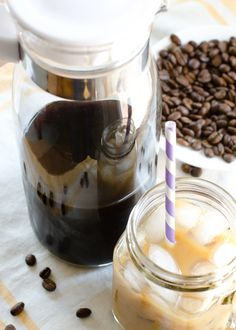 Make your own cold-brew coffee at home, and have a pitcher of it ready in your fridge for that moment you need a refreshing wake up call this summer!  It's EASY and CHEAPER than buying it at the coffee shop!