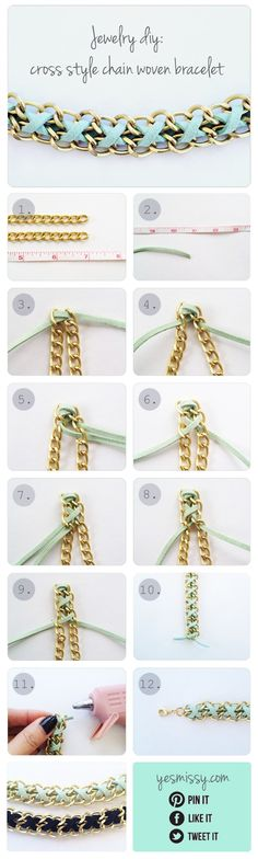 Criss-cross woven chain jewelry, could also use ribbon or embroidery floss