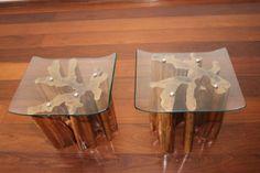 banco de madeira de remanejo com acento de vidro- Donnas Design