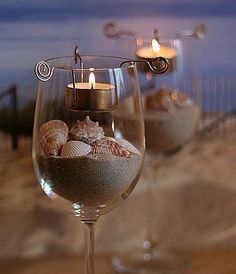 candle holders, decorating ideas, beach party, wine glass, at the beach, beach weddings, beach inspired, beach themes, tea lights
