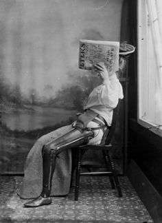 Woman Sitting wearing an artifical leg crafted by James Gillingham, c. 1890 - 1900. © Science Museum   prosthetic   shielding the face   embarrassment   history   historical   wow   vintage black  white photography   1800's   overcoming adversity