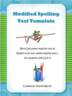 Special Education Spelling Template