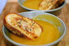 two squash soup, one gruyere crouton by smitten, via Flickr