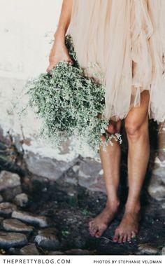 Soft blush chiffon dress & rustic bunch of greenery | Conceptualisation & Coordination: BonTon Events, Photographer: Stephanie Veldman, Styling, flowers and decor: Okasie