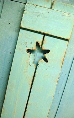 Soft sea-foam shutter with a perfect little starfish.