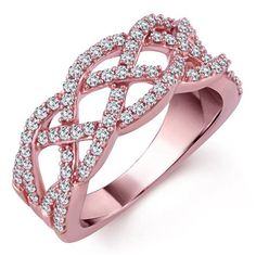"""Our beautiful Rose """"Elizabeth"""" with 3/4ctw AAA quality Diamond Woven Band set in 14kt Rose Gold. Available in yellow or white gold also. rose elizabeth, diamond, roses, rose gold, beauti rose"""