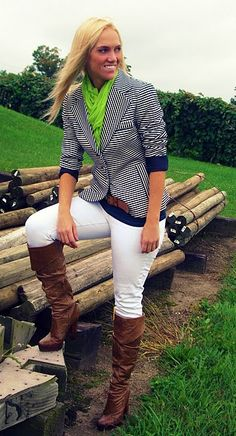 Preppy style striped Navy blazer with a Touch of Lime Green; so different and unique!