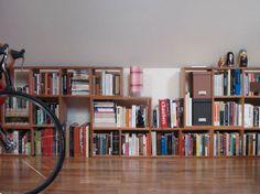 Bookshelves under a sloped ceiling