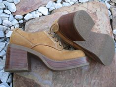 OMG! i use to own shoes like these! getting nostagic...Vintage Candies Suede Leather Chunky Heel by Luxurias on #Etsy