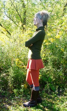 Organic Clothing - Skirted Leggings - Organic Cotton - Shown in Pumpkin - Made to Order