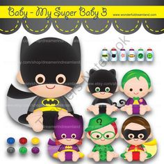 Instant Download Printable Clipart Clip Art Digital PDF PNG File - Superhero Super Hero Villain Supe from Wonderful Dreamland on TeachersNotebook.com -  (18 pages)  - baby boy, baby girl, superhero, villain