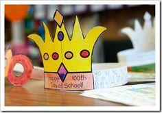 100 idea, craft day, crowns, school activ, 100th day, anniversary ideas, educ, teach, school celebr