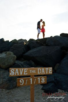 Mountain-top view with signs to save the date