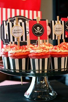 pirate party - cupcake toppers