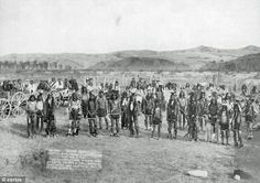 This picture of the Miniconjou Sioux band was taken near the site of the Wounded Knee massacre one month before the December 1890 massacre where hundreds of Indians were killed. (Photographer unknown / No date / Photoshopped)