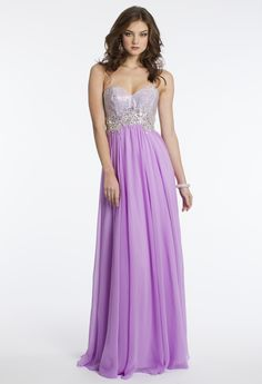 Camille La Vie Matte Chiffon Strapless Prom Dress