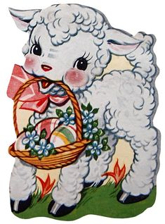 Retro Easter Lamb Clip Art – Click for printable picture @ Vintage Fangirl
