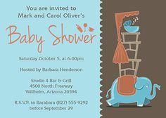 Customizable baby shower invitation template - Elephant