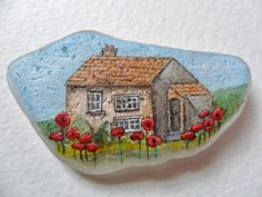 Summer cottage - original acrylic miniature painting on sea glass.