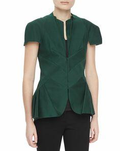 Textured Short-Sleeve Pleated Peplum Jacket  by Zac Posen at Neiman Marcus.