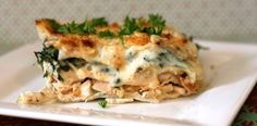 White Cheese And Chicken Lasagne.