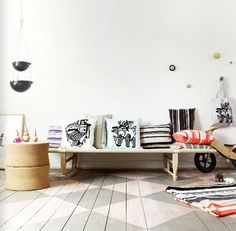 oyoy living design textiles & that checkered painted floor!