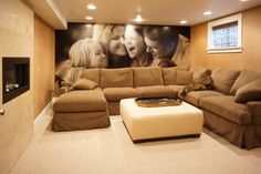 oversized family photo! LOVE. Basement idea.