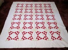 "Early 1900's ""Buckeye Beauty"" Antique Quilt w Cotton Seeds 