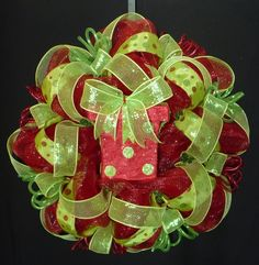Red Lime Green Christmas Wreath, Poly Mesh, Deco Mesh, Geo Mesh Wreath, Christmas Decor, Wreaths for the Door, Item 515. $65.00, via Etsy.