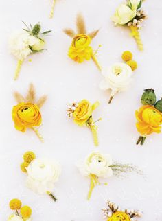 Yellow boutonnieres...