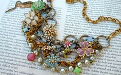 Vintage Enamel Flower Necklace Bib Statement  by AllThingsTinsel, $159.00