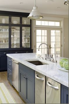 marble countertop + gray blue cabinets