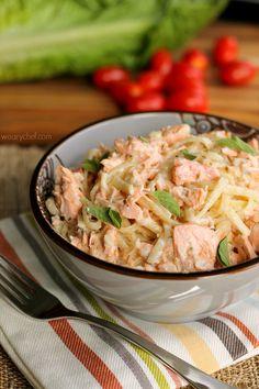 Cajun Salmon Alfredo - but with spaghetti squash instead of noodles