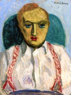 Louis Kaufman with Red Suspenders on White Shirt Milton Avery - 1931