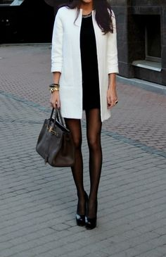 bodycon tunic + stockings + structured coat