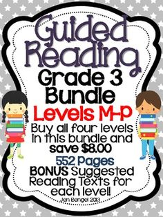 552 pages of everything you need to teach guided reading levels M-P.  There are even suggested book titles in fiction and nonfiction for each level!  Save big and get the bonus book titles when purchasing these four resources combined!