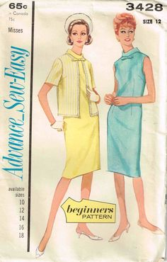 Vintage 1960s Dress and Jacket Beginner Sewing by PeoplePackages, $6.00