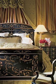 This bed and cornice are fabulous