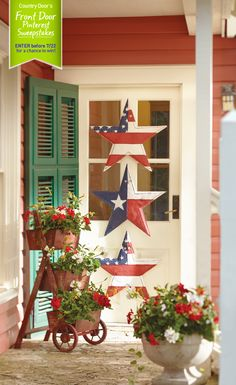 Country Door's Front Door Pinterest Sweepstakes! What does your dream front door look like? Enter for a chance to win our Summer Star & 3-Tier Flower Cart! #CountryDoorSweepsEntry www.countrydoor.com/pinterestsweeps