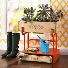 DIY schoolhouse desk planter