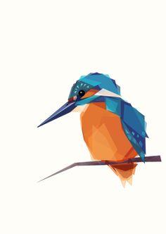 Kingfisher Geometric Minimal Bird Print