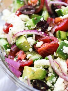 Greek Salad with Avocado #recipe on foodiecrush.com #cucumbers #tomato #mediterranean