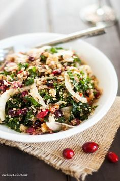 Roasted Garlic Quinoa & Kale Salad with Cranberries - Cooking Quinoa